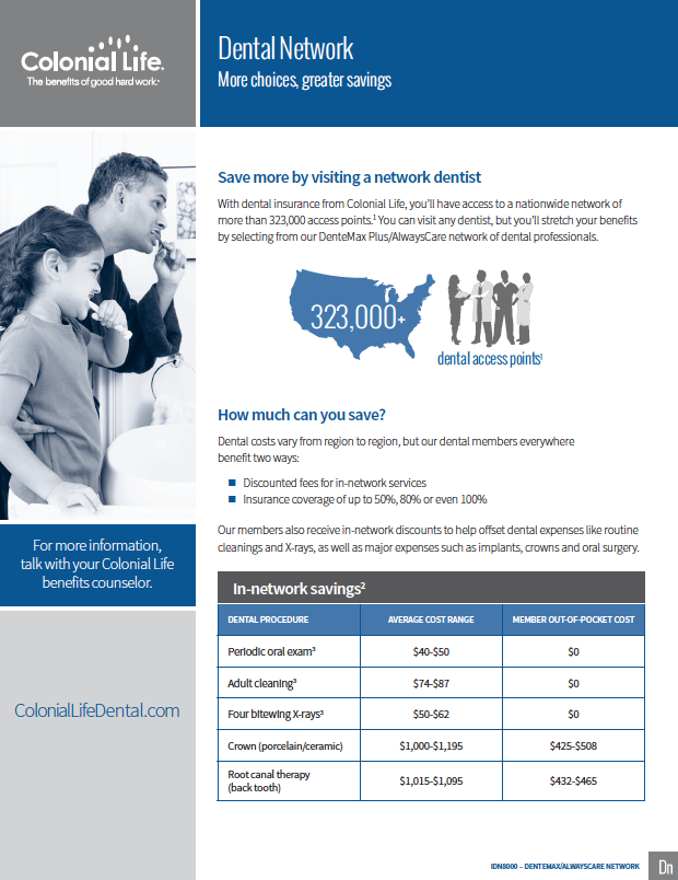 colonial life dental PPO network